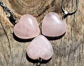 Rose Quartz, crystals and stones, heart chakra, chakra stones, chakra pendant, silver jewelry, hearts.  Australian seller.