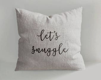 Let's snuggle  - Hand Drawn Linen Pillow Cover -Decorative Pillow  - Throw Pillow - Natural Linen - Scandinavian Style - Hand draw - Cushion
