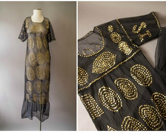 vintage 1980s dress / 80s gold sequine party dress / small - medium