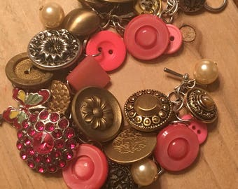 Vintage button charm bracelet