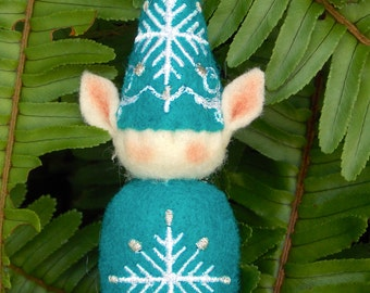 Elf Ornament ~ Decoration ~ Christmas ~ Holiday Stuffed Dark Turquoise Felt with White & Silver Snowflakes