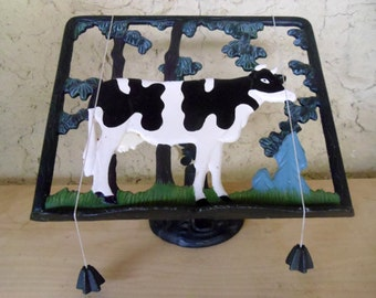 Cast iron recipe stand Cow in a field motif Vintage French Book holder Cook book stand Page holder weights
