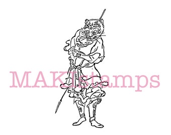 Chinese zodiac rubber stamp / tiger as japanese samurai / asian rubber stamp - unounted or cling stamp option (170307)