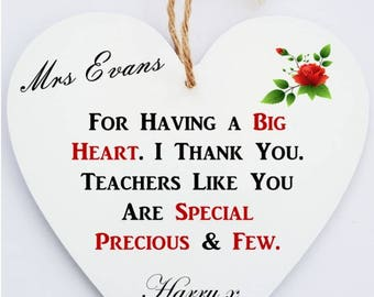 Teacher Personalised Heart Plaque
