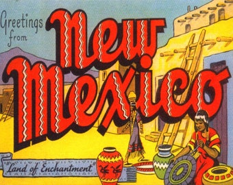 Large Letter Greetings from New Mexico NM, REPRO Vintage Postcard Z682163