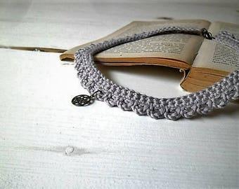 Crochet choker with bronze filigree charm