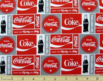 Coca Cola Coke Block Fabric From Sykel By the Yard