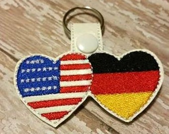 US Flag and German Flag - Germany - Key Fob DESIGN-  Digital Embroidery Design