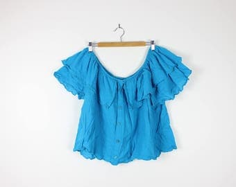 Off the Shoulder 80s Vintage Turquoise Blue Cheesecloth Fabric Ruffled Festival Top Boho Gypsy