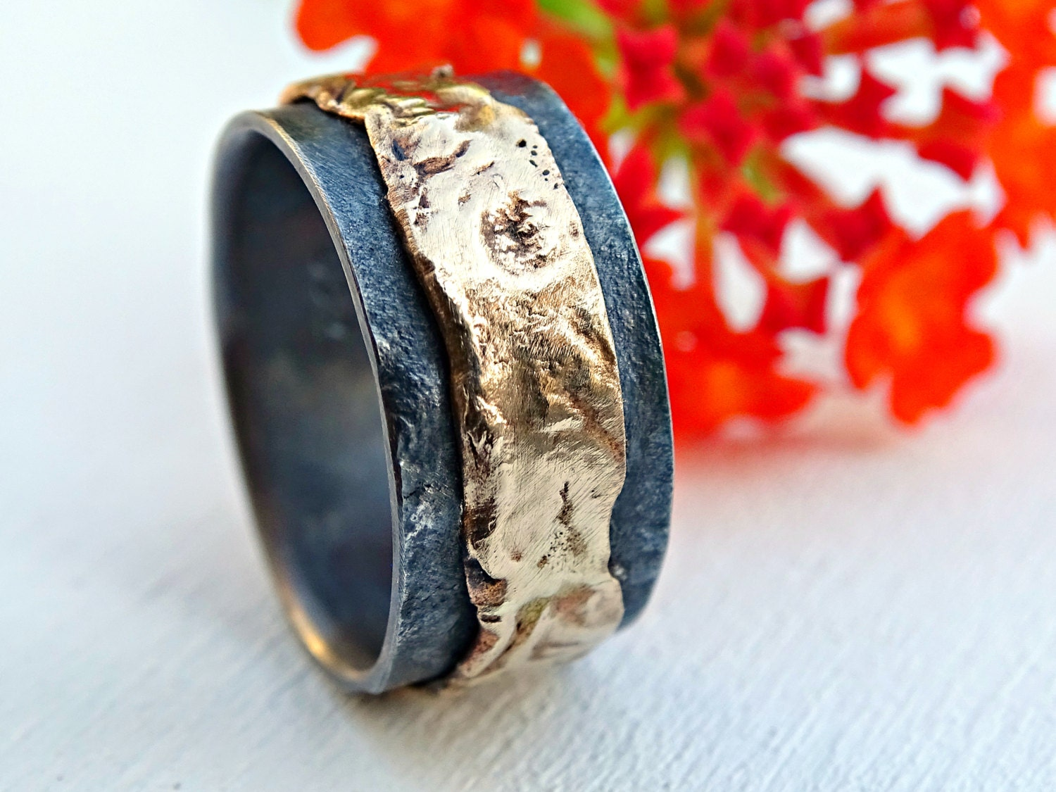 Unique Mens Wedding Band Gold Silver Ring