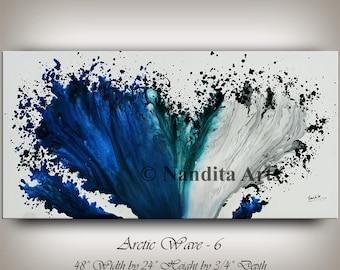 ABSTRACT PAINTING Modern Blue Art Original Contemporary Art Home Decor Artwork Wedding Gift Decorative Art Surreal Painting Nandita Albright