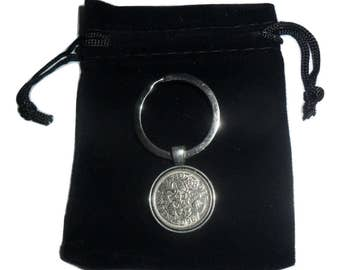 Deluxe 1967 sixpence British coin keyring 50th birthday gift for a man gift for a woman with free presentation pouch