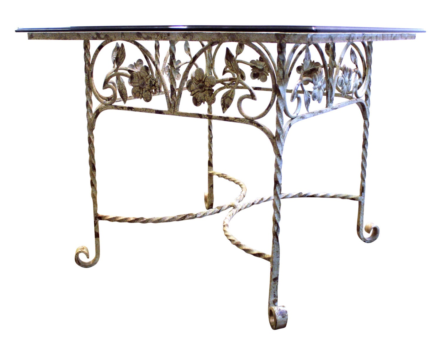 Wrought iron cocktail side glass top table w floral design for Wrought iron side table base