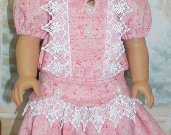 American Girl Style 1904 Drop Waist Dress in Pink and Lace