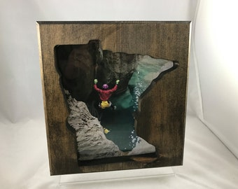 "Minnesota Wood Cut-out Picture Frame - 8"" x 10"" - Hand Made - Dark walnut stain"