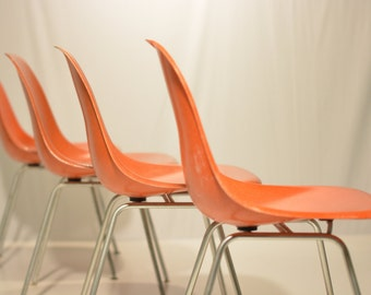 Orange Eames Herman Miller Shells on H-Base