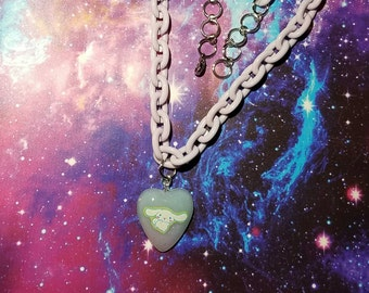 Chunky Chain Charm Necklace ~ Kawaii Doggie Heart Pendant