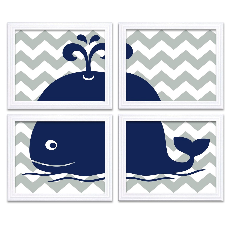 Navy Blue Grey Gray Whale Nursery Art Set of 4 Prints Chevron Child Art Kids Room Wall Decor Baby Bo