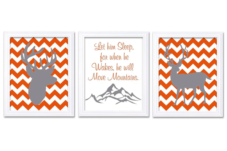 Deer Nursery Art Deer Head Prints Set of 3 He Will Move Mountains Orange Grey Chevron Baby Wall Deco