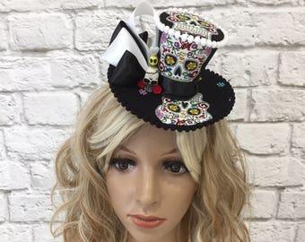 Sugar Skull Fascinator Mini Top Hat, Halloween Mini Top Hat, Day of the Dead Mini Top Hat