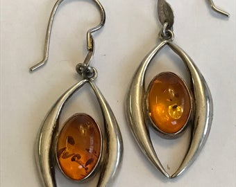 Amber Sterling Earrings Baltic Poland Polish 925 Silver Honey Vintage Southwestern Jewelry Birthday Anniversary Mother's Holiday Gift Boho