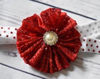 Red Sequin Flower Hair Bow Headband