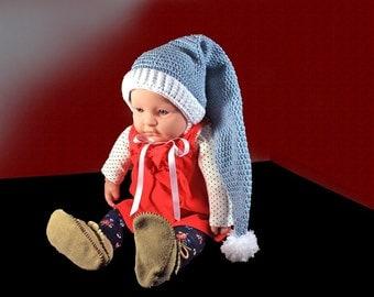 Stocking Baby Hat, Winter Hat, Crochet, Unisex Baby Hat, Handmade, 0-3 Months, Blue and White, Ribbon Ties, Baby Shower Gift