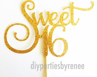 Sweet 16 Cake Topper - Assorted Colours - Sweet Sixteen Cake Topper - Birthday - Sweet 16 - Happy 16th - Happy Sixteenth