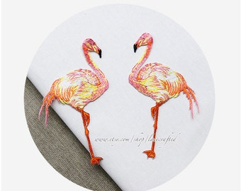 Cute Flamingo Lace Applique Trim Embroidery patch Iron on Applique Patch For costume design