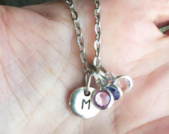 Initial Necklace/ Mom Initial Birthstones Necklace/ Mom Children Birthstone Necklace/ Custom Initial Necklace/ Mothers Day Necklace Gift