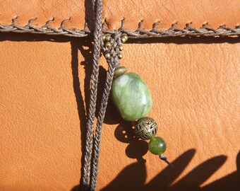 Leather Tobacco Pouch with serpentine and brass beads