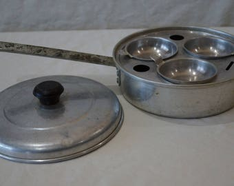 Vintage Sears Better Maid of Honor Medium Weight Aluminum 3 Egg Poacher Pan
