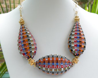 """Blown Murano Glass Bead Necklace, Multicolored """"Battuto Beads"""", Handmade by a Murano Glass Master, on Gold Filled Link Chain"""