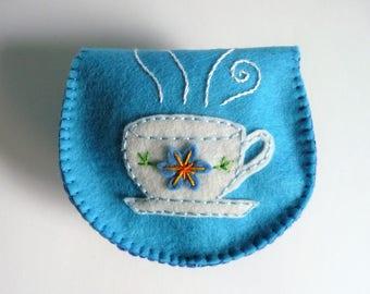 Tea Wallet, Tea Purse, Felt Coin Purse, Felt Wallet, Felt Change Purse, Gift for Tea Lover, Vintage Button Purse, Tea Bag Holder, Felt Bag