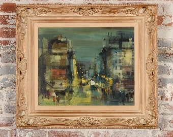 St. Martin,Paris -1960s street scene - exquisite Oil Painting by Jean Fabert