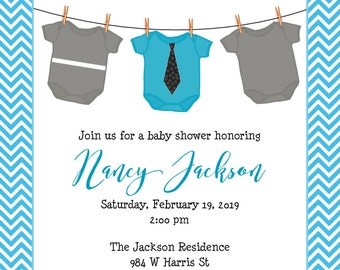 "Onesie Clothesline Baby Shower Invitation 5""x7"" Custom Digital Card"