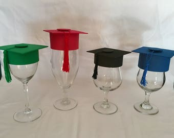 15 pieces graduation cap with tassel for wine glasses!