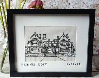 Framed Bespoke Custom Stitched Freehand Machine Embroidered House Portrait