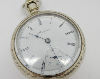 Antique ELGIN Grade 44, 15J, 18s, Open Face Oresilver Pocket Watch; sku # 3471