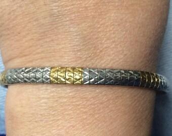 VINTAGE Sterling Silver Gold Vermeil 5mm Bracelet Italy!