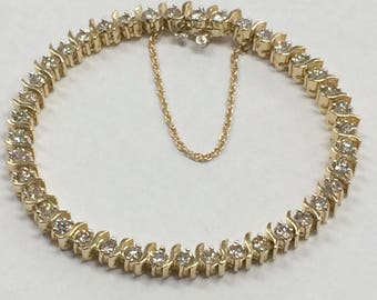 "GORGEOUS 14K Yellow Gold 4 CTW DIAMOND 7"" Tennis Bracelet 18.3 Grams!!"