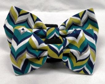 Blue and Green Herringbone Bow Tie - Collar accessory