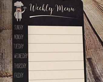Weekly Menu Dry Erase Board - Steel - Dinner Planning - Supper Planner