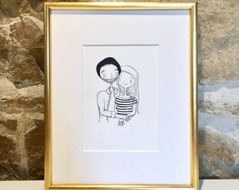Basil & SOPHIE - couple Portrait - original Illustration with ink of a loving couple - unique design