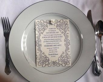 Wedding thank you card, wedding plate decoration, wedding decoration, wedding accessory,
