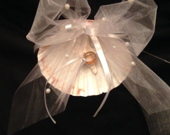 Beach Wedding - Beach Ring Bearer - Scallop Shell Ring Bearer
