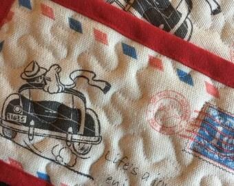 "Retro mug rugs (set of 2),couple mug rugs,""Life's a journey"" mug rugs"