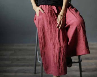 608---Red Washed Lithuanian Linen Wide Leg Pants / Culotte, Gaucho Pants, European Linen Yoga Pants, Skirt Pants, Pants Skirt, Skants.