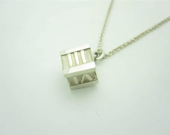 Tiffany & Co. Sterling Silver Atlas Cube Roman Numeral Pendant Necklace 16""