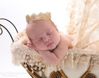 Gold baby crown headband, Princess crown, Photography prop, Infant crown,  Gold crown, Birthday crown, Newborn crown, Lace crown, Gold prop